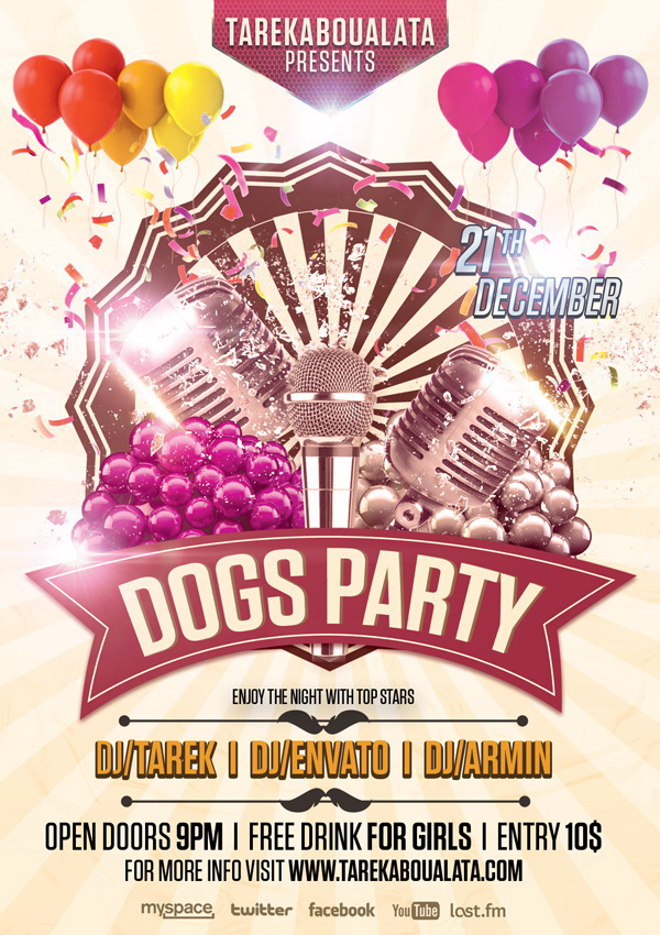 Шоу я и моя собака афиша Dogs Party Free PSD