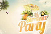 Романтичный дизайн плаката Summer Party Free PSD
